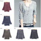 1 Piece Free Size Women Hollow V-Neck Long-Sleeve Sweater Knitted Top Pullover
