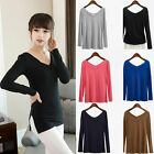 1 Piece Women's Modal Long-sleeved T-Shirt V Neck Dress Top Blouse