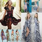 Sexy Retro Women Boho Print Short Sleeve Beach Sundress Ladies Maxi Party Dress