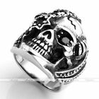 Punk Gothic Pirate Skull CZ Crystal 316L Stainless Steel Men's Biker Ring Cool