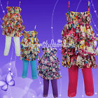 GIRLS Leggings Floral Ruffle Top & 3/4 Leggings Set ** Last Few Left BARGAIN **