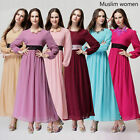 Muslim New Women Lace Chiffon Long Sleeve Dress Islamic Kaftan Maxi Arab Clothes