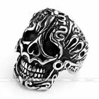 Fashion Punk Gothic Men 316L Surgical Steel Carved Totem Skull Biker Finger Ring