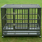 "37"" /48"" Heavy Duty Strong Metal Pet Dog Cage Crate Kannel Playpen w/Wheels&Tray"