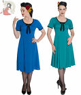 HELL BUNNY 40s ALVEIRA wartime vintage style DRESS BLUE TEAL XS-4XL