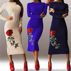 New Women Elegant Long Dress Floral Printed Bodycon Evening Party Cocktail Dress