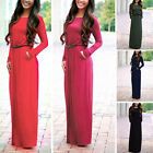 Women's Fashion Casual Long Sleeve Round Neck Straight Party Evening Long Dress