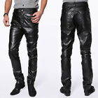 Fashion New Men's Casual Slim Fit Skinny PU Faux Leather Jeans Trousers Pants