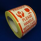 """Fragile Please Handle With Care 3""""x4"""" - Packing Shipping Handling Warning Label"""