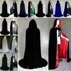 Halloween Witch Velvet Cloak Adult Hooded Cape Wedding Costume Robe Party Decor