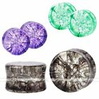 Organic Cracked Glass Quartz Saddle Ear Tunnel Plugs Stretcher Expander Piercing