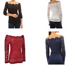Autumn Sexy Off Shoulder Lace Crochet Shirts Long Sleeve Casual Tops Blouse US