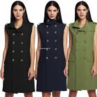 Stylish Women Vest Sleeveless Double Breasted Leisure Coat Long Trench Outwear