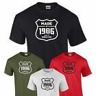 Made in 1986 T-Shirt 31st Birthday Gift Present Mens Family Tee S-XXL