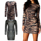 Womens Ladies Animal leopard Tiger Print Bodycon Long Sleeve Tunic Dress 14-18