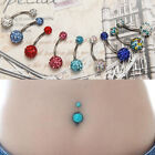 Hot Sales  Navel Belly Button Ring Barbell Crystal Ball Piercing Body Jewelry