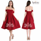 Women Rockability Flare Prom Sexy Off Shoulder Cocktail Swing Skater Party Dress
