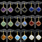 Natural Gemstone Square Candy Healing Chakra Pendant 18k Gold Plated Earrings