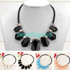 Fashion Women's Acrylic Gemstone Statement Party Bib Collar Choker Necklace