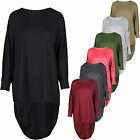 Ladies Womens High Low Dip Back Loose Fit Over Sized Batwing Top 8-26