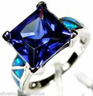 Tanzanite & Blue Fire Opal Inlay Solid 925 Sterling Silver Ring size 7 or 9