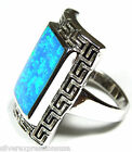 Designed Blue Fire Opal Inlay Solid 925 Sterling Silver Ring size 6, 7, 8