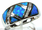 High Quality Blue Fire Opal  Inlay Solid 925 Sterling Silver Ring size 6,7,8,9