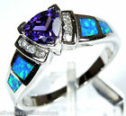 Amethyst and Blue Fire Opal Inlay Solid .925 Sterling Silver Ring Sz 6,7,8,9