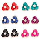 1 Pair New Chram Women's Ear Stud Flower Pear Jewelry Gold Plated Gift Earrings
