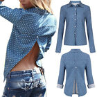 Womens Ladies Sexy T Shirt Long Sleeve Shirt Split Backless Loose Blouse Tops