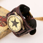 Best Mens Retro Punk Rock Brown Big Wide Leather Bracelet Cuff Wrist Watch