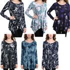 Women's Flared Handkerchief Hem Paisley Printed Loose Fit Tunic Tops T-shirts