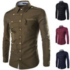 Military Men's Slim Fit Buttons Down Long Sleeve Causal Dress Business Shirt new