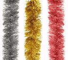Tinsel Garland 24 ft Christmas Holiday Decor Gold Red or Silver Brand New
