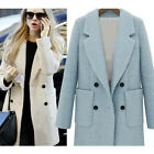 Womens Double-Breasted Lapel Woolen Jacket Long Trench Coat Parka Overcoat
