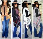 British Inspired PLAID CHECK Cozy Longline Open Front Vest Sweater 4 Colors S-XL