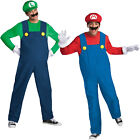 Adults Mens Official Deluxe Super Mario & Luigi Bros Fancy Dress Party Costume