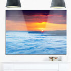 Sunrise Over Foggy Ocean - Landscape Photography Glossy Metal Wall Art