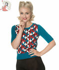 BANNED RETRO CUBE 50s vintage style KNIT short sleeve JUMPER TOP
