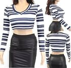 Womens Ladies Crop Top Striped Monochrome Long Sleeve Blouse V Neck T-shirt Sexy