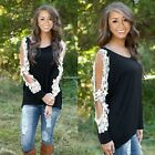 New Fashion Women Hollow Out Lace Patchwork Long Sleeve T-shirt Blouse Tops