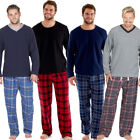 Mens Pyjamas Fleece Pyjama Top and Flannel Check Bottoms/Lounge Pants M L XL XXL