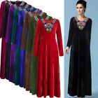 Muslim Islamic Pleuche Women Cocktail Maxi Dress Long Sleeve Kaftan Abaya Jilbab