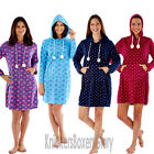 Ladies Heart/Spot Fleece Pyjamas/Poncho Hood Lounger Pyjama Top Robe Size 10-20