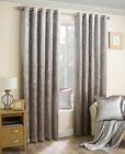 NATURAL CRUSHED VELVET PAIR METALLIC EYELET RING TOP READY MADE LINED CURTAINS