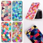 3D relief Colorful Grid Phone Case For iphone 6 6S 5 5s SE 6 6S 7 TPU+PC 2 in 1