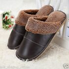 Home Slippers Winter Warm Men's Women's Leather Floor Shoes US Size 5.5 - 9.5