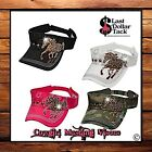 COWGIRL VISOR CAPS ~ DISTRESSED DESIGN WITH EMBROIDERED CRYSTAL MUSTANG HORSE