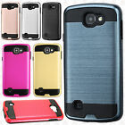 For LG Rebel 4G LTE L44VL Brushed Metal HYBRID Rubber Case Snap On Phone Cover