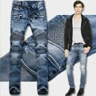 Brand New Men's Fashion Straight Biker Jeans Pants Skinny Denim Ripped Trousers